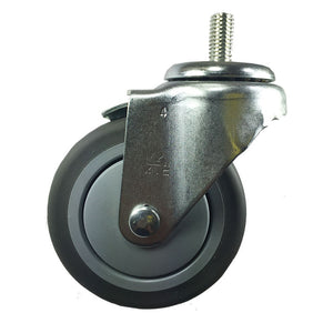 "4"" x 1-1/4"" Non Marking Rubber on Threaded Steam (B1) - 4 Swivels (F)"