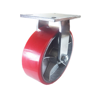 "10"" x 3"" Red Polyurethane on Cast Iron Casters -  2 Rigids 2 Swivels"