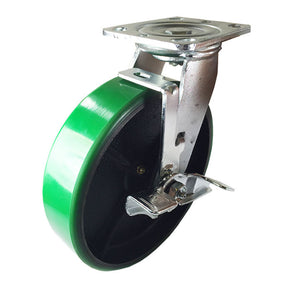 "8"" x 2"" Green Polyurethane on Cast Iron Casters -  2 Rigids & 2 Swivels w/ Brake"