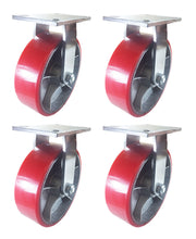 "10"" x 3"" Red Polyurethane on Cast Iron Casters -  4 Rigids"