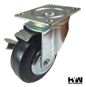 "4"" x 1-1/4"" Plastic Rubber Wheel Caster - Swivel with Brake"
