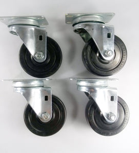 "3-1/2"" x 1-1/4"" Hard Rubber Wheel Casters (A1) - 4 Swivels"