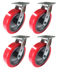 "8"" x 2"" Aluminum wheel Casters -  4 Swivels"