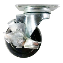 "3-1/2"" x 1-1/4"" Hard Rubber Wheel Casters (A1) - Swivel with Brake"