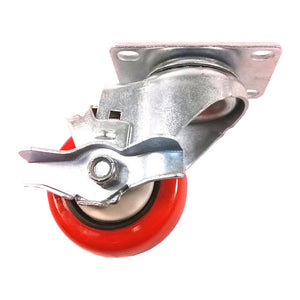 "3"" x 1-1/4"" Polyurethane with Thread Guard Caster (A1) - 1 Swivel with Brake"