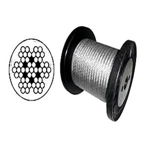 "7 x 7 Clear PVC Galvanized Aircraft Cable Wire Rope 3/32"" to 3/16""  - 1,000 ft"