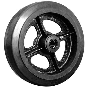 "8"" x 2"" Rubber on Cast Iron Wheel with Bearing - 1 EA"