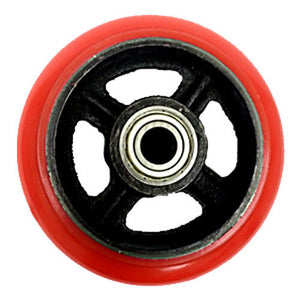 "6"" x 2"" Polyurethane on Steel Core Wheel (RED) with Bearing - 1 EA"