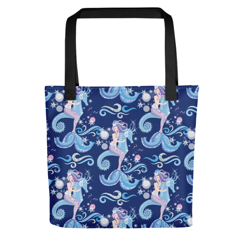 Mermaid and Seahorse All Over Tote Bag - LDS
