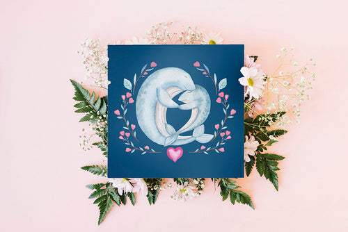 Dolphin Couple Folded Cards - LDS