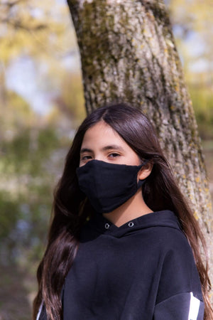 Reusable Face Mask Solid Black Standard/Junior Size