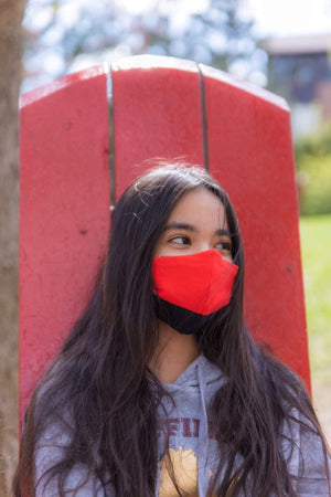 reusable-face-mask-solid-black-red-junior-size