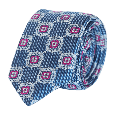 FANCY TIE BLUE AND MAGENTA - SKINNY - Cochic