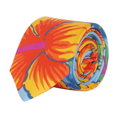 blue-orange-silk-tie-hibiscus