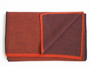 HERRINGBONE CASHWOOL SCARF - REVERSIBLE - ORANGE