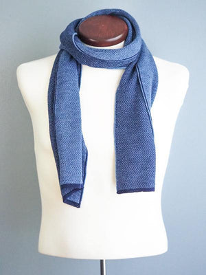 HERRINGBONE CASHWOOL SCARF - REVERSIBLE - BLUE JEANS - Cochic - Free shipping