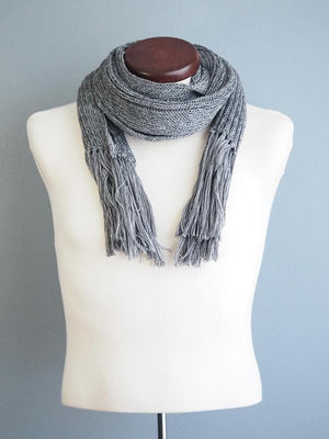 MOSCOW FRINGED WOOL SCARF - GRAY