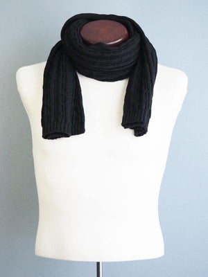BERLIN SOLID THICK WOOL SCARF - BLACK - Cochic - Free shipping