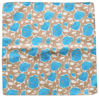 BLUE ROSES POCKET SQUARE - Cochic