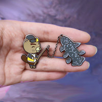 Animal Crossing CJ with Coelacanth Chained Pins