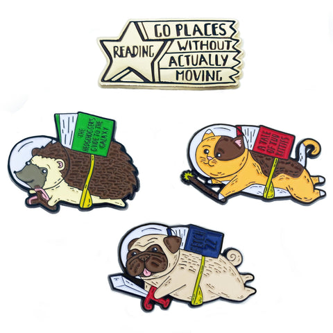 Lazy Readers Club Enamel Pin Set