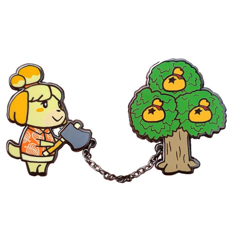 Animal Crossing Isabelle with Money Tree Chained Pins