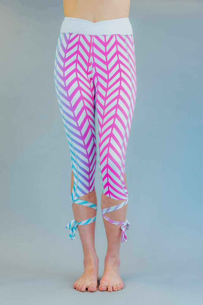 High-Waisted Herringbones Ombre Ballet-Inspired Ankle Tie Dancer Leggings