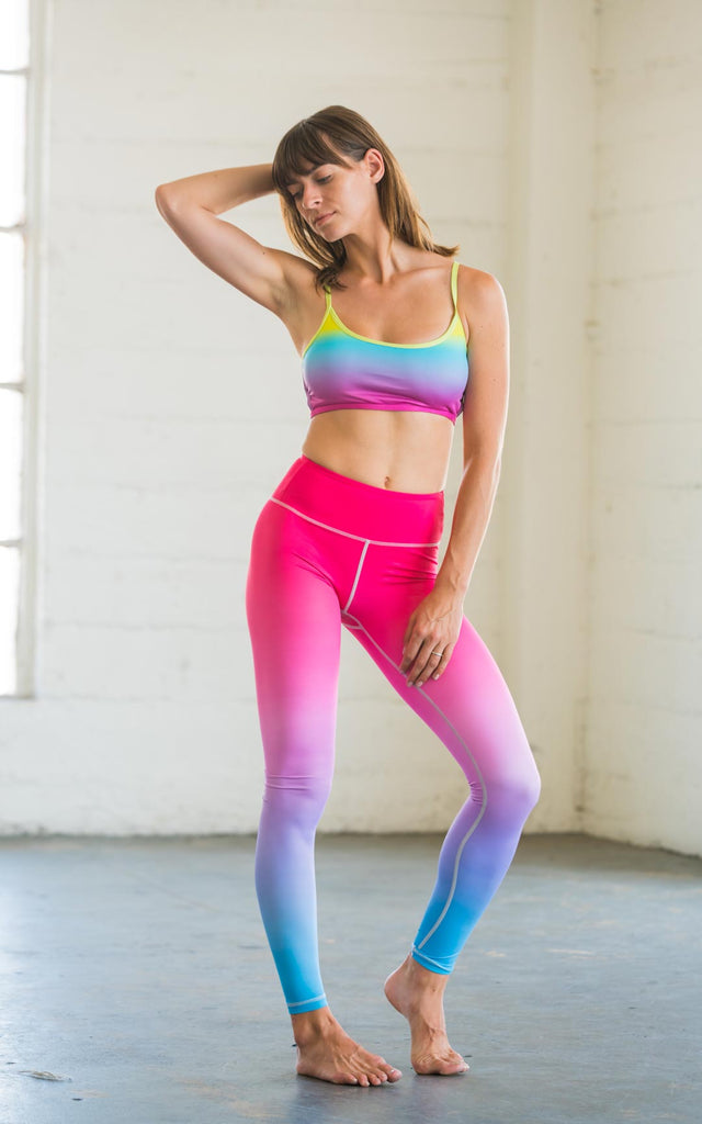 High-Waisted Pink Blue Ombre Yoga Pilates Gym Fitness Skin Leggings