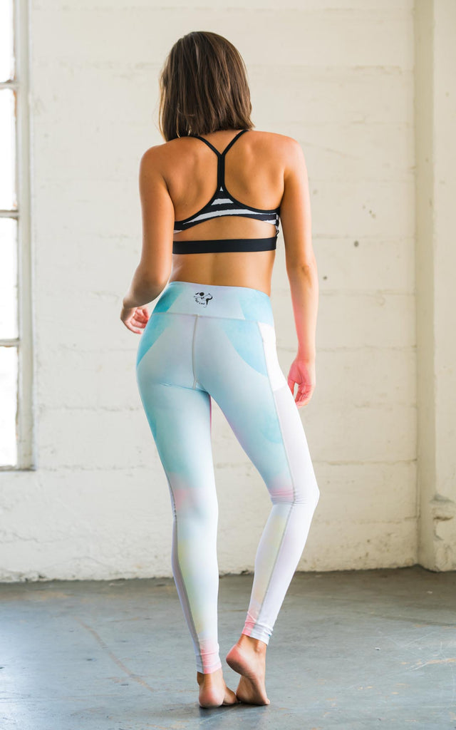 High-Waisted Watercolour Peek-A-Boo Mesh Yoga Pilates Gym Fitness Pole Dancing Skin Leggings