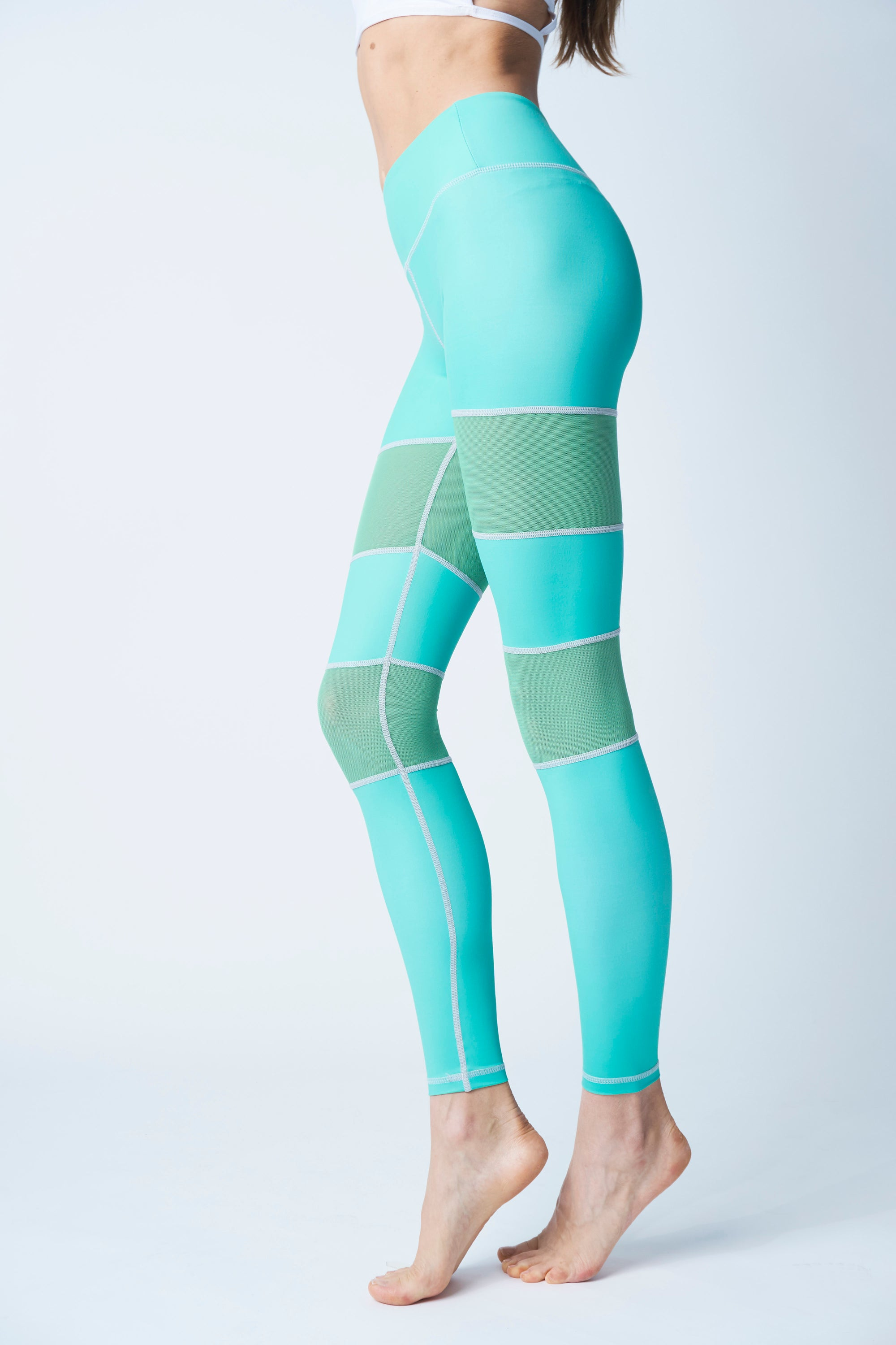 a0cf0d40928ad High-Waisted Mint Green Mesh Insert Peek a Boo Skin Leggings for Yoga  Pilates Gym Fitness Workouts