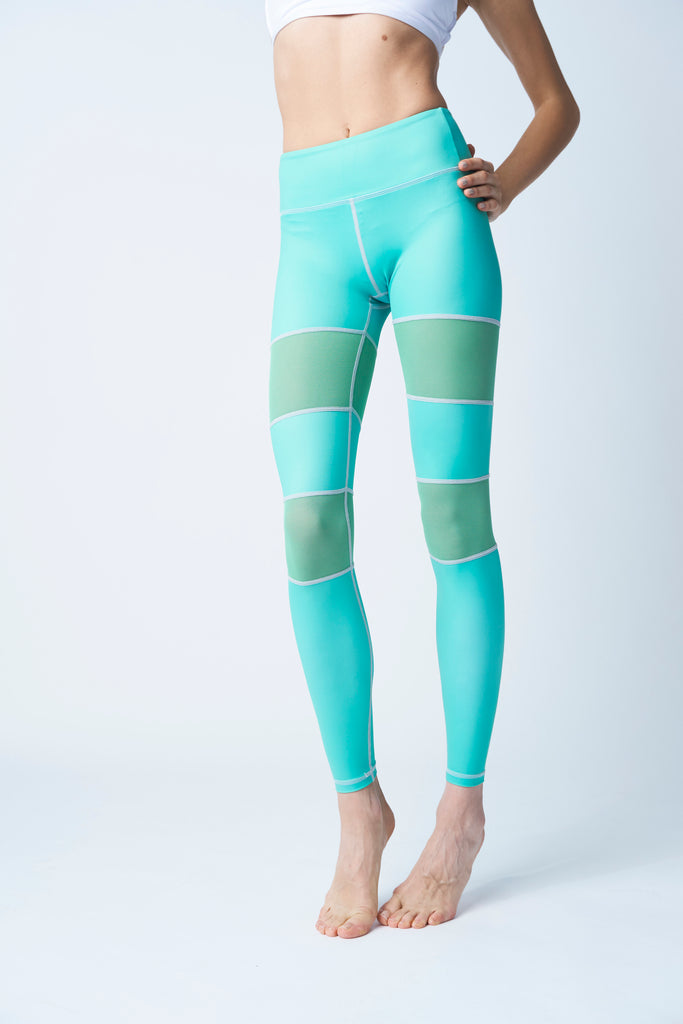 High-Waisted Mint Green Mesh Insert Peek a Boo Skin Leggings for Yoga Pilates Gym Fitness Workouts