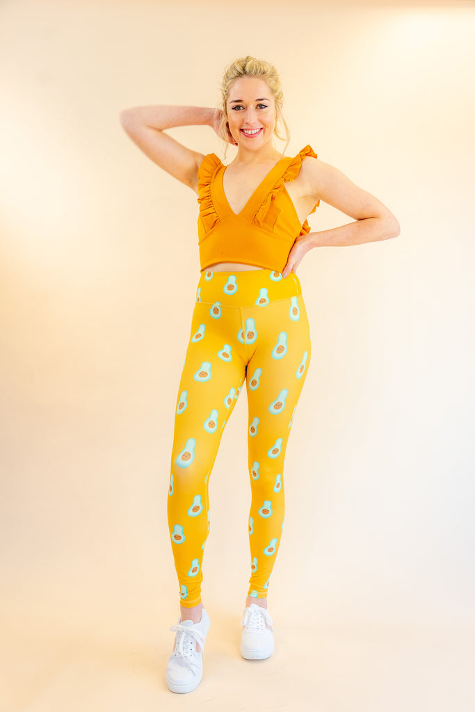 High Waisted Yellow Avocado Print Skin Leggings for Yoga Pilates Gym Fitness Workouts