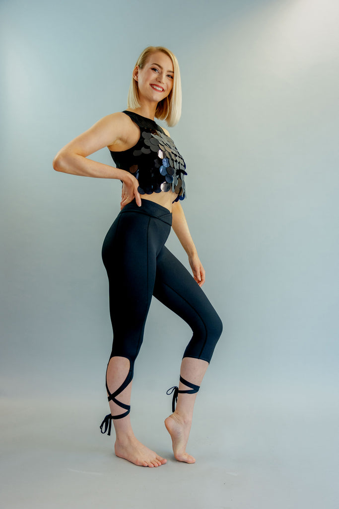 High-Waisted Black Ballet-Inspired Ankle Tie Dancer Leggings