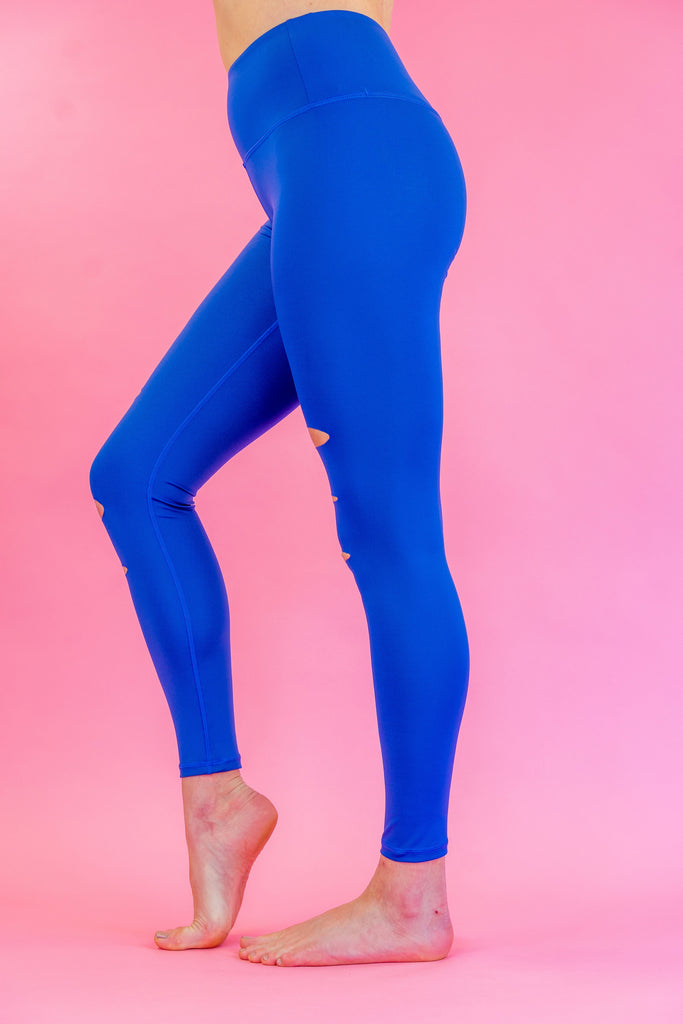 High-Waisted Electric Blue Flash Dance Ripped Skin Leggings for Yoga Pilates Gym Fitness Workouts