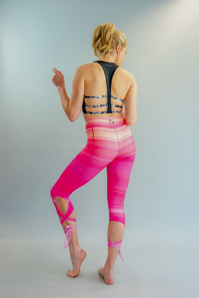 High-Waisted Fifty Shades of Pink Ballet-Inspired Ankle Tie Dancer Leggings