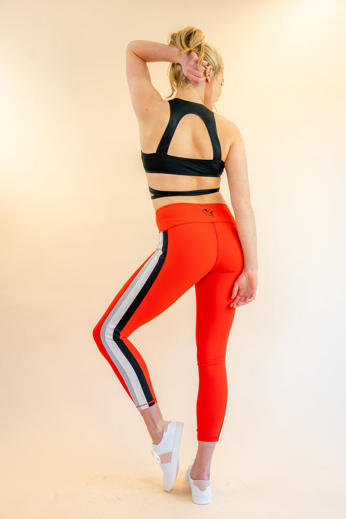High-Waisted 7/8 Red Hot Fire Skin Leggings with Black White Silver Side-Stripes