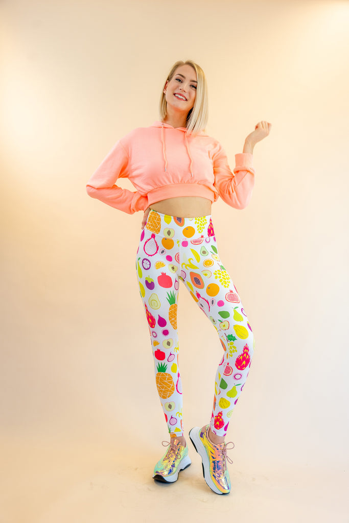 High-Waisted Fruitti Tutti Tropical Thai Fruits Print Skin Leggings