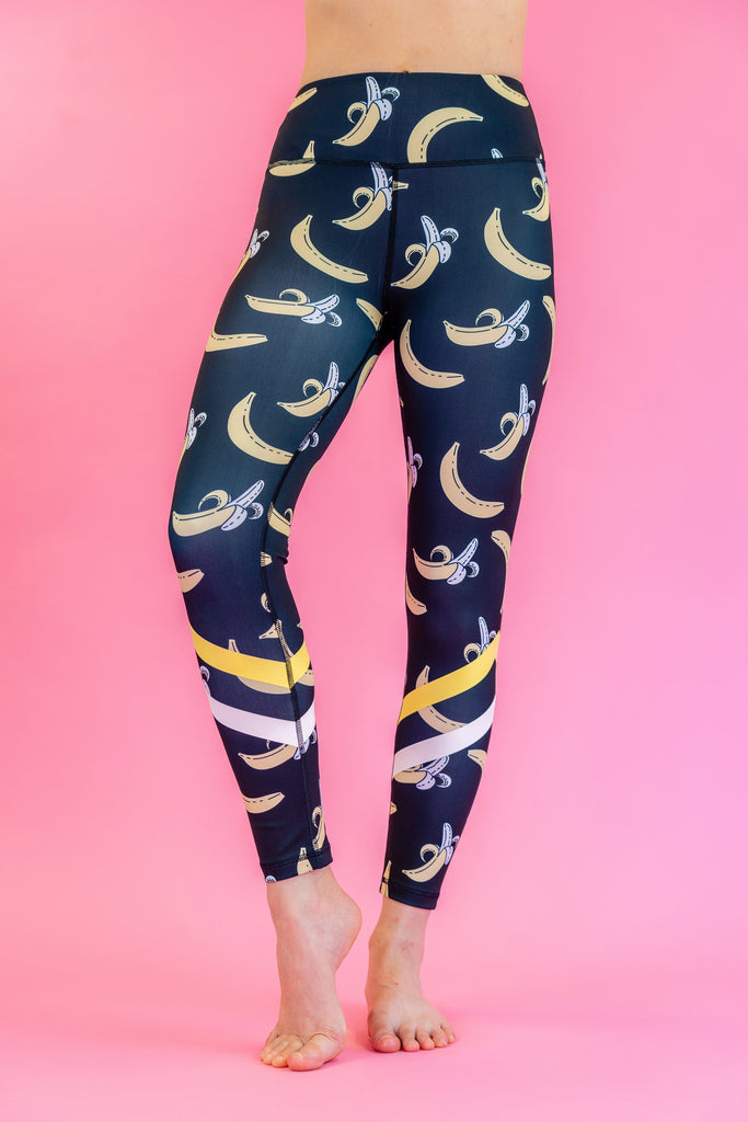High-Waisted Bananas Print with White Yellow Stripes Black Skin Leggings