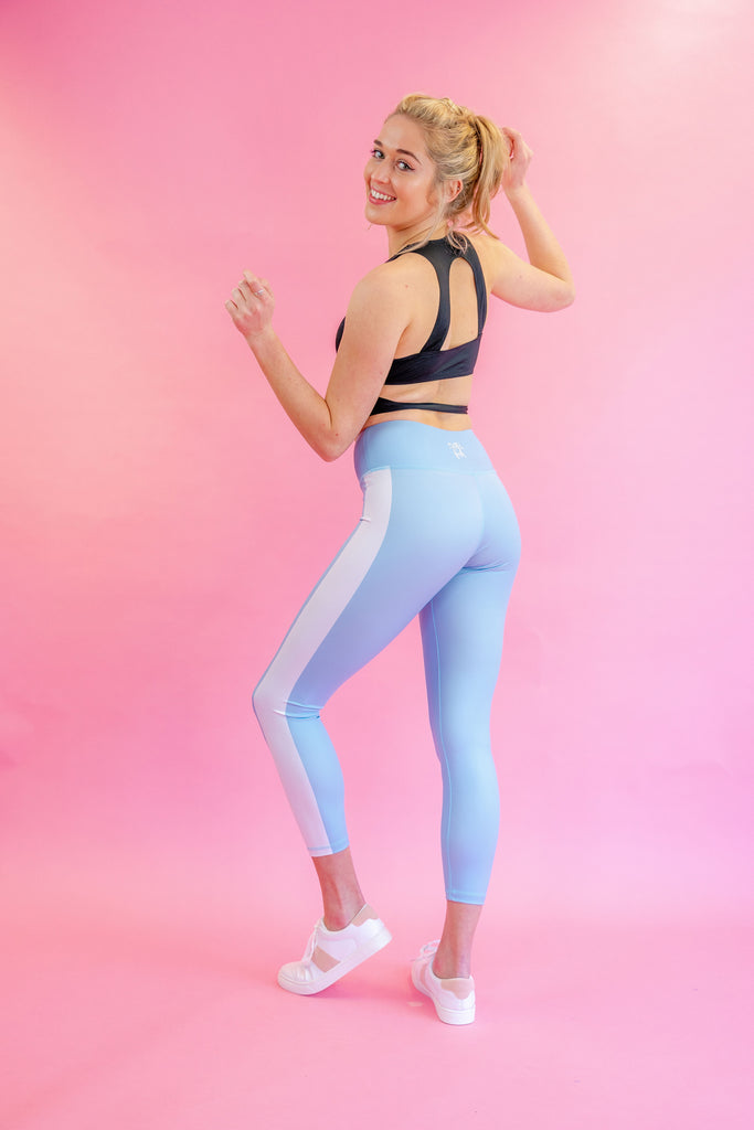 High-Waisted Into the Blue with White Side-Stripes Leggings for Yoga Pilates Gym Fitness Workouts
