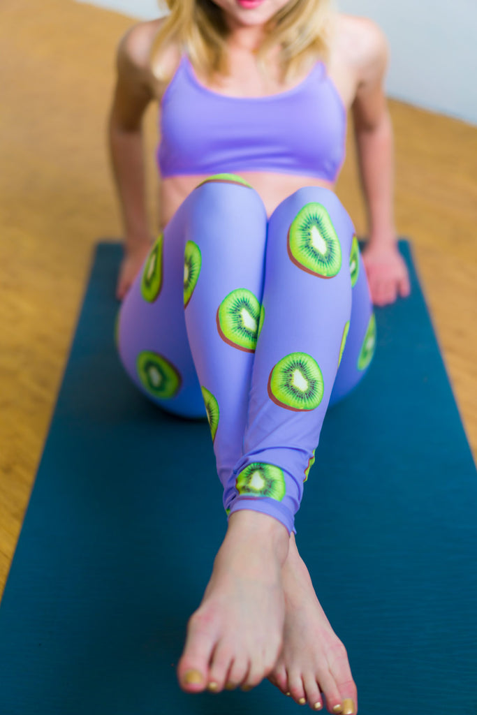 High-Waisted Purple and Green Kiwifruit Print Leggings for Yoga Pilates Gym Fitness Workouts