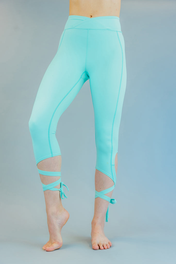 High-Waisted Mint Green Ballet-Inspired Ankle Tie Dancer Leggings