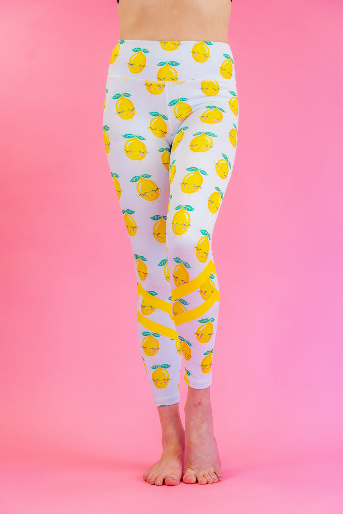 High-Waisted Squeezy Lemon Print with Yellow Stripes Skin Leggings