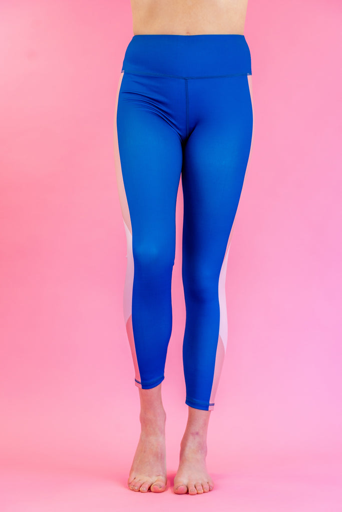 High-Waisted Navy Blue with Blush Pink Side-Stripes Skin Leggings