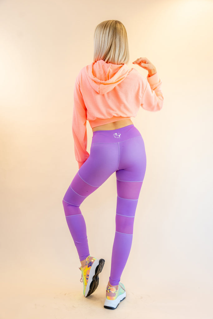 High-Waisted Purple Mesh Insert Peek a Boo Skin Leggings for Yoga Pilates Gym Fitness Workouts