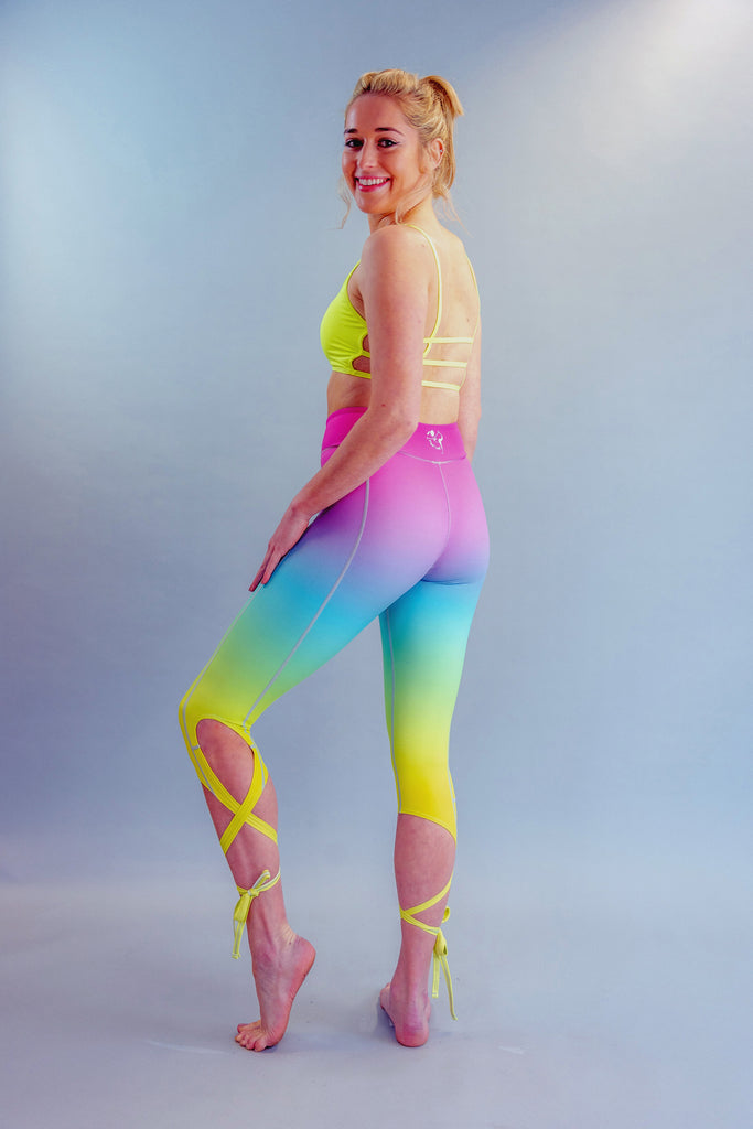 High-Waisted Rainbow Ballet-Inspired Ankle Tie Dancer Leggings