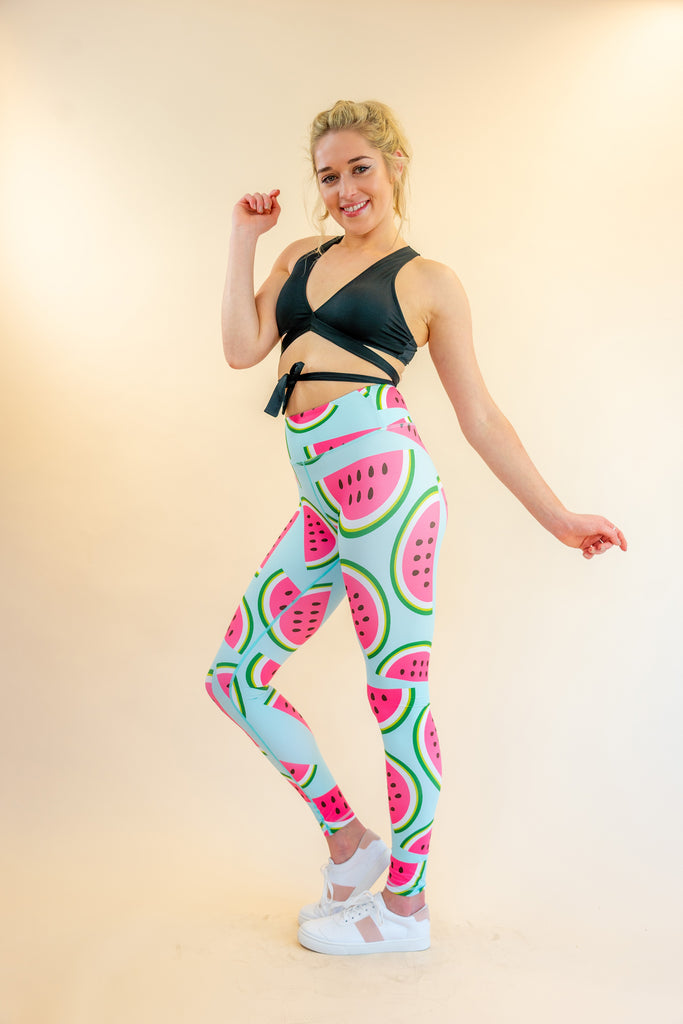High-Waisted Watermelon Print Skin Leggings for Yoga Pilates Gym Fitness Workouts Pole Dancing