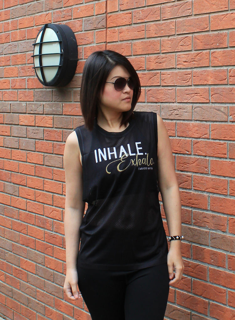 Inhale & Exhale Airtex Mesh Black Vest Top for Gym Running Yoga Fitness