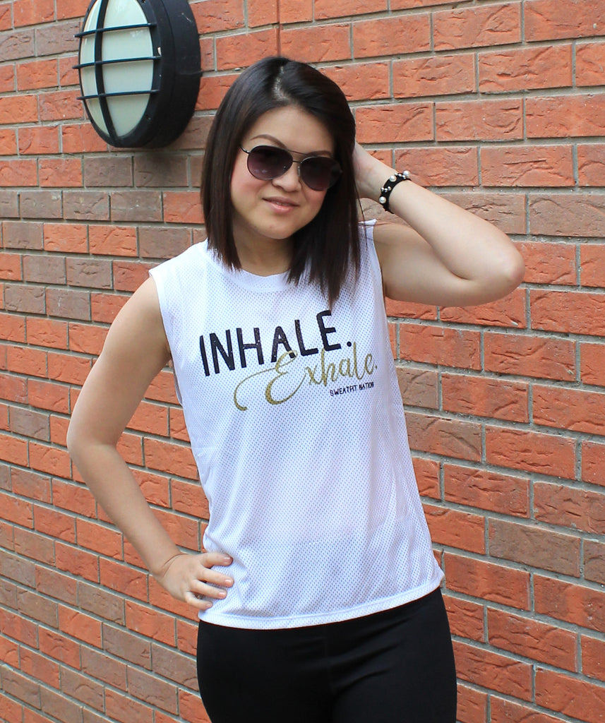 Inhale & Exhale Airtex Mesh White Vest Top for Gym Running Yoga Fitness