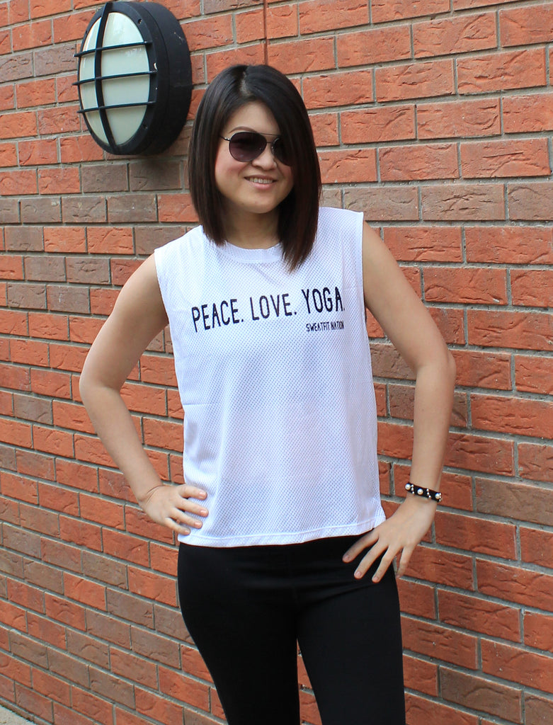 Peace Love Yoga Airtex Mesh White Vest Top for Gym Running Yoga Fitness Tie Back