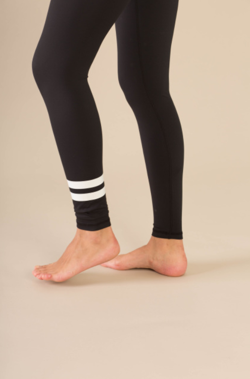 High-Waisted Black Pandora with White Stripes Yoga Pilates Gym Fitness Skin Leggings